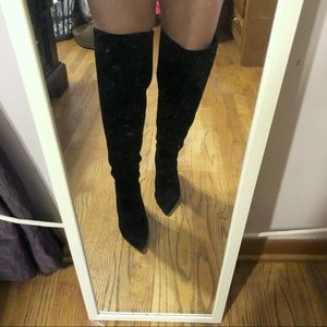 Nine West Suede Over the Knee Zippered Boots 8.5